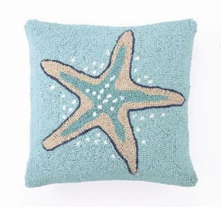 Destin Starfish Blue Hook Pillow - By the Sea Beach Decor