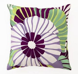 Purple Sea Floral Coastal Decor Pillow