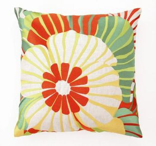 Palm Springs Orange Sea Floral Pillow - By the Sea Beach Decor