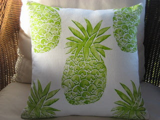 Lime Pineapple Beach Decor Throw Pillow