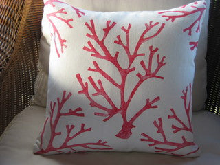 Magens Bay Red Coral Pillow - By the Sea Beach Decor
