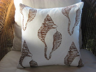 Brown Conch Shell Beach Decor Hand Printed Throw Pillow
