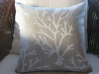 White Coral Natural Beach Decor Throw Pillow