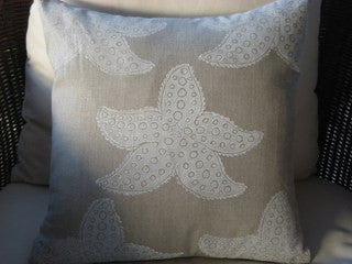 White Seastar on Natural Beach Decor Pillow