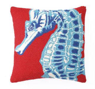 Patong Beach Red Seahorse Hook Pillow - By the Sea Beach Decor
