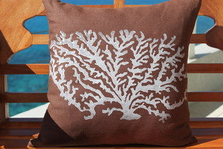 Magens Bay Cocoa Stony Coral Pillow - By the Sea Beach Decor