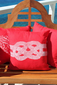 Magens Bay Red Carrick Knot Pillow - By the Sea Beach Decor