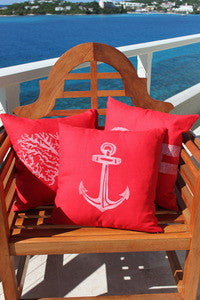 Magens Bay Red Anchor Pillow - By the Sea Beach Decor