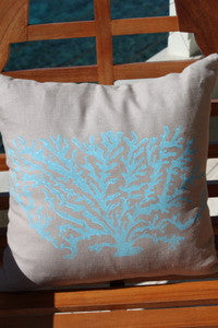 Magens Bay Light Blue Coral Pillow - By the Sea Beach Decor