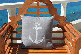 Stingray Gray Anchor Coastal Decor Pillow