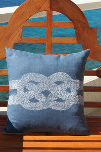 Ocean Blue Sailor's Knot Coastal Decor Pillow