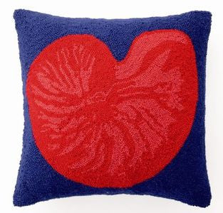 Red & Blue Nautilus Shell Hook Pillow - By the Sea Beach Decor
