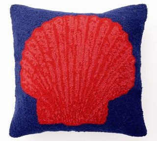 Red & Blue Scallop Shell Pillow - By the Sea Beach Decor