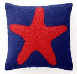 Blue & Red Starfish Beach Decor Pillow
