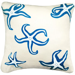 Oceanside Sapphire Starfish Pillow - By the Sea Beach Decor