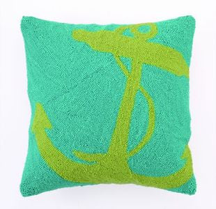 Green Nautical Anchor Hook Pillow - By the Sea Beach Decor