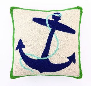 Blue Nautical Anchor Hook Pillow - By the Sea Beach Decor