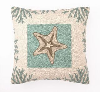 Coral & Starfish Hook Pillow - By the Sea Beach Decor