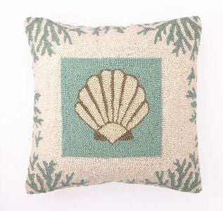 Coral & Scallop Shell Hook Pillow - By the Sea Beach Decor