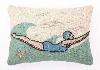 Retro Diver Hook Pillow - By the Sea Beach Decor