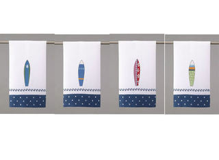 West Jetty Surfboard Beach Decor Guest Towel Set - By the Sea Beach Decor