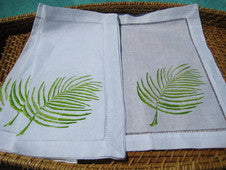 Green Palm Beach Decor Linen Napkin Set - By the Sea Beach Decor
