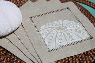 Cocktail Napkins Sea Urchin on Natural Linen - By the Sea Beach Decor