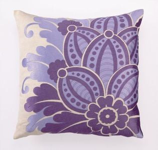 Palm Springs Purple Embroidered Pillow - By the Sea Beach Decor