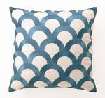 Palm Springs Teal Scales Linen Pillow - By the Sea Beach Decor
