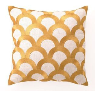 Coastal Decor Pillow Citron Scales Linen Pillow