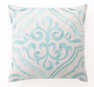 Robin's Egg Blue Tile Pattern Embroidered Pillow