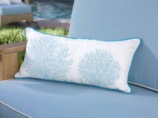 Turquoise Blue Coral Oblong Coastal Throw Pillow