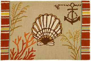 Scallop Shell Throw Rug - By the Sea Beach Decor
