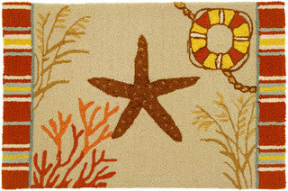 Starfish From the Sea Coastal Throw Rug