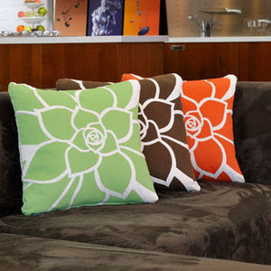 Brown Rosette Floral Coastal Decor Pillow