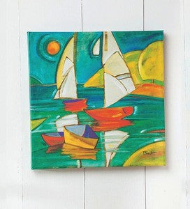 Coastal Artwork Colorful Sailboat Beach Decor Artwork