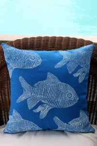 Blue Fish Beach Decor Throw Pillow
