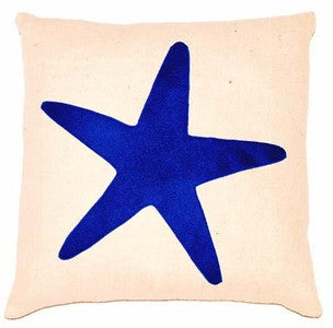 Island Blue Starfish Pillow - By the Sea Beach Decor