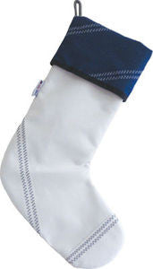 Sailcloth Blue Holiday Stocking - By the Sea Beach Decor
