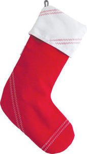 Sailcloth Red Holiday Stocking - By the Sea Beach Decor