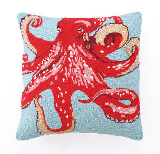Red Octopus Coastal Decor Hook Pillow