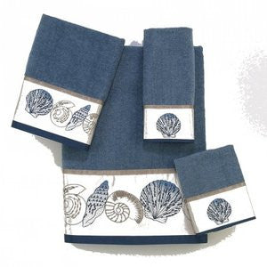 Hampton Shell Slate Coastal Fingertip Towel Set - By the Sea Beach Decor