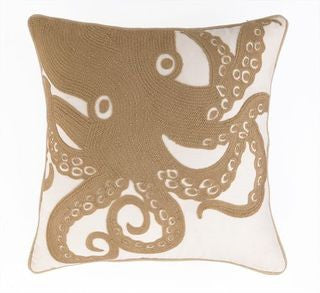 Octopus Natural Embroidered Coastal Pillow