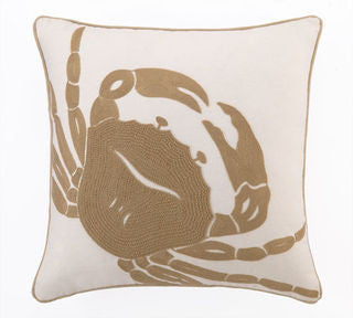 Harbor Island Crab Embroidered Pillow - By the Sea Beach Decor