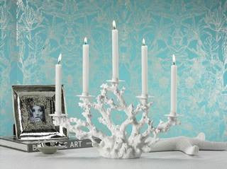 Coral Five Light Coastal Decor Candelabra - By the Sea Beach Decor