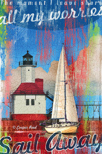 Sail Away Canvas - By the Sea Beach Decor