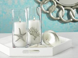 Silver Sealife Cylinder Candleholder - By the Sea Beach Decor