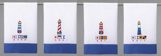 West Jetty Lighthouse Signal Flag Guest Towel Set - By the Sea Beach Decor