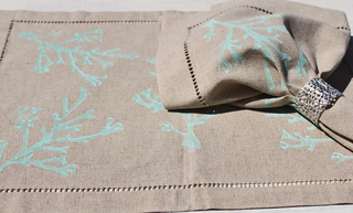 Turquoise Coral Linen Napkins - By the Sea Beach Decor