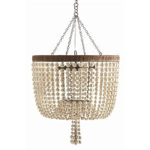 Viola Iron & Ivory Beaded Chandelier - By the Sea Beach Decor